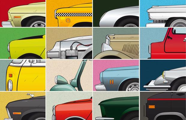 retrospective illustr e des voitures cultes du cin ma spotern. Black Bedroom Furniture Sets. Home Design Ideas